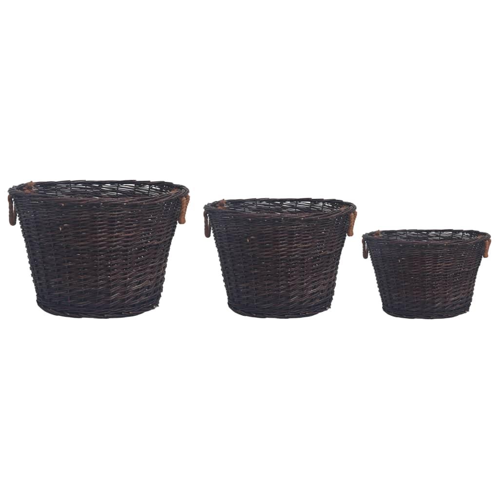 VidaXL 3 delige Houtmandenset stapelbaar wilgenhout donkerbruin