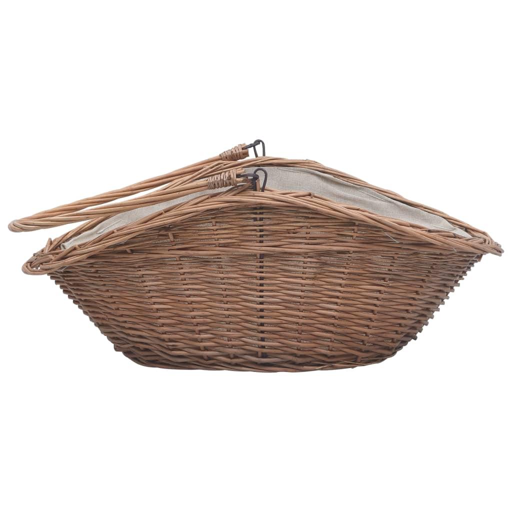 Houtmand met handvat 60x44x55 cm natuurlijk wilgenhout