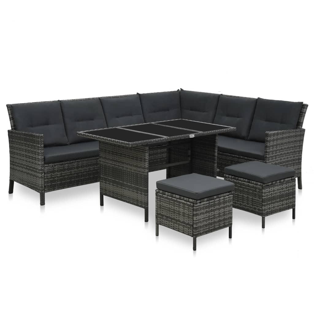 vidaXL Set mobilier de grădină cu perne, 4 piese, gri, poliratan vidaxl.ro