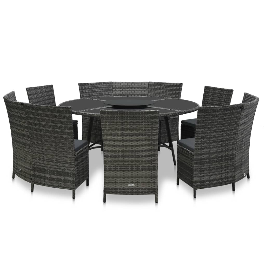 vidaXL Set mobilier de exterior cu perne, 7 piese, gri, poliratan imagine vidaxl.ro