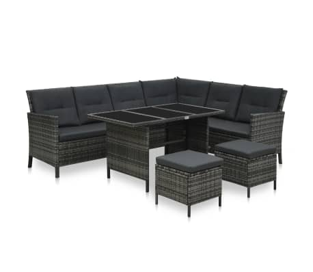 vidaXL 4 Piece Garden Lounge Set with Cushions Poly Rattan Grey