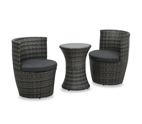 vidaXL 3 Piece Bistro Set with Cushions Poly Rattan Gray