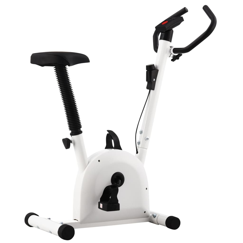 vidaXL Bicicletă fitness cu curea de rezistență, alb vidaxl.ro