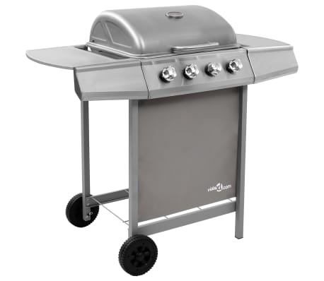 vidaXL Gas BBQ Grill with 4 Burners Silver (FR/BE/IT/UK/NL only)