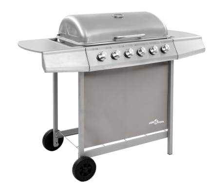 vidaXL Gas BBQ Grill with 6 Burners Silver (FR/BE/IT/UK/NL only)