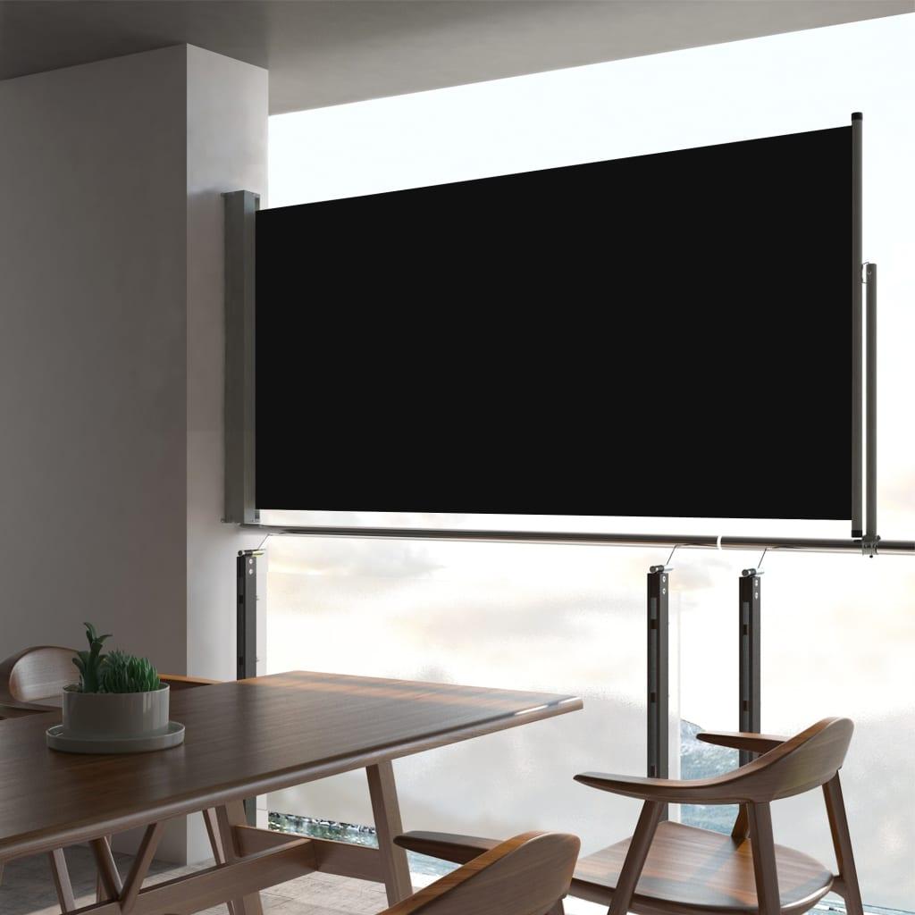 vidaXL Tuinscherm uittrekbaar 80x300 cm zwart