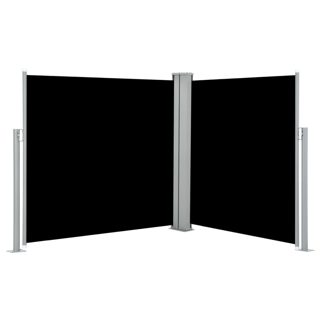 Ausziehbare Seitenmarkise Schwarz 100 x 600 cm