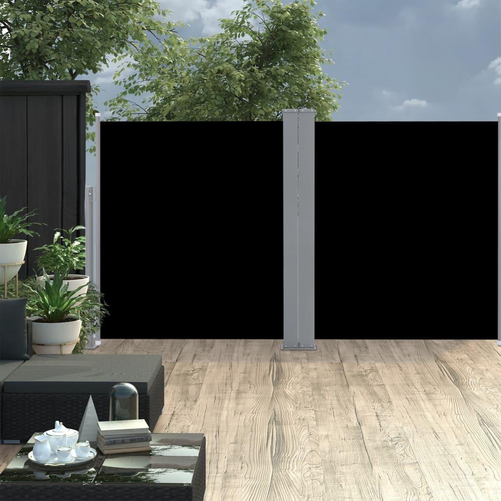 vidaXL Copertină laterală dublă retractabilă, negru, 170 x 600 cm imagine vidaxl.ro