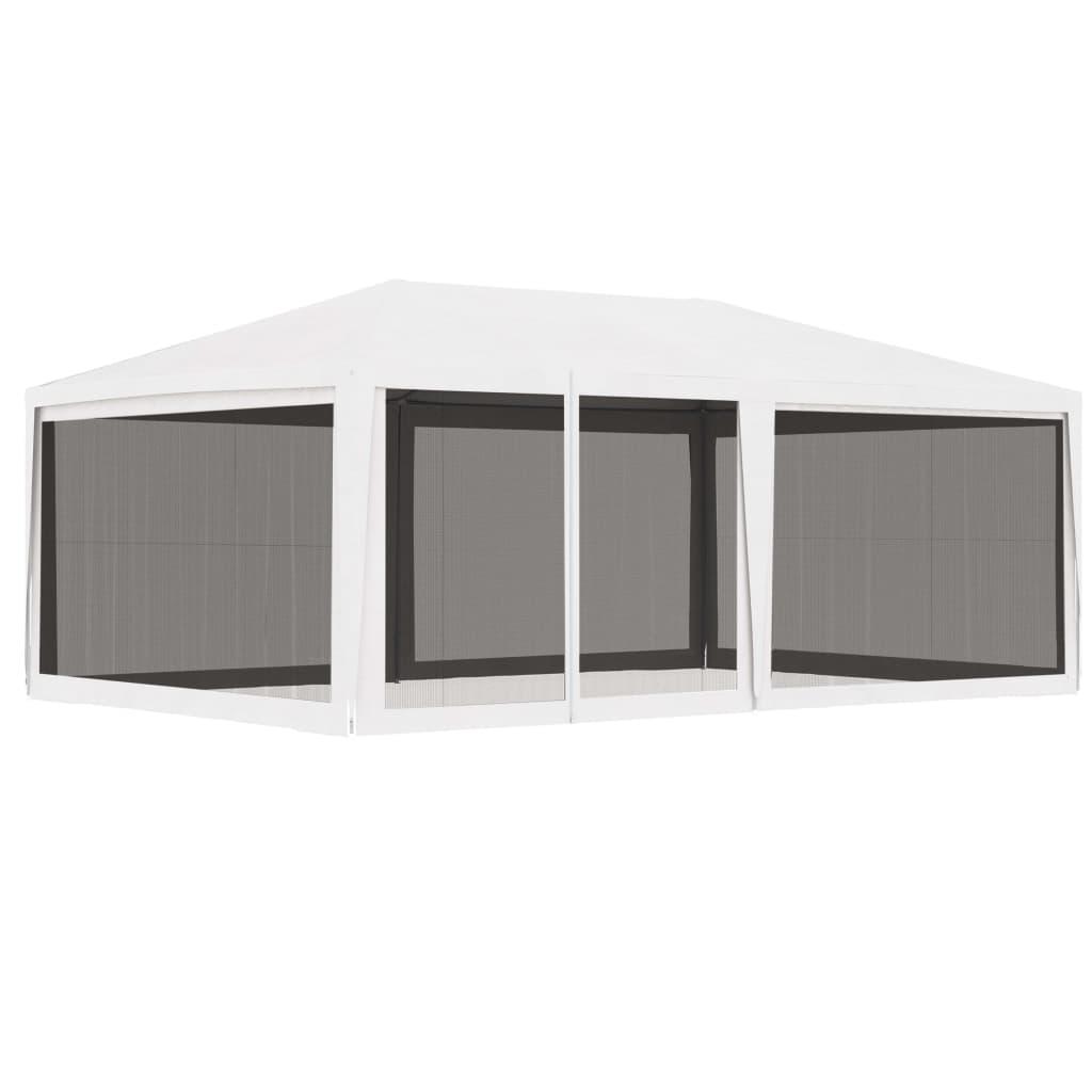 vidaXL Τέντα Εκδηλώσεων με 4 Τοιχώματα με Δίχτυ Λευκή 4 x 6 μ.