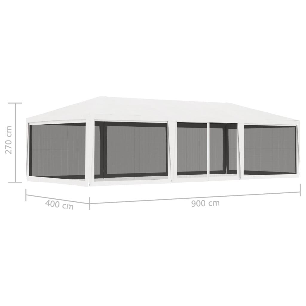 vidaXL Partytent met 4 mesh zijwanden 4x9 m wit