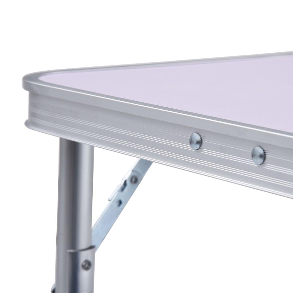 Campingtafel inklapbaar 60x45 cm aluminium wit