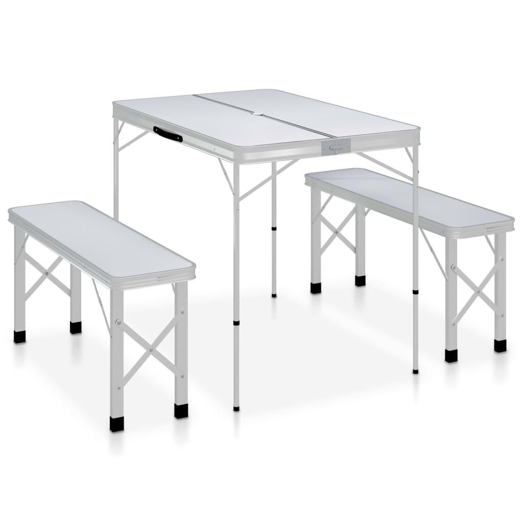vidaXL foldbart campingbord med 2 bænke aluminium hvid