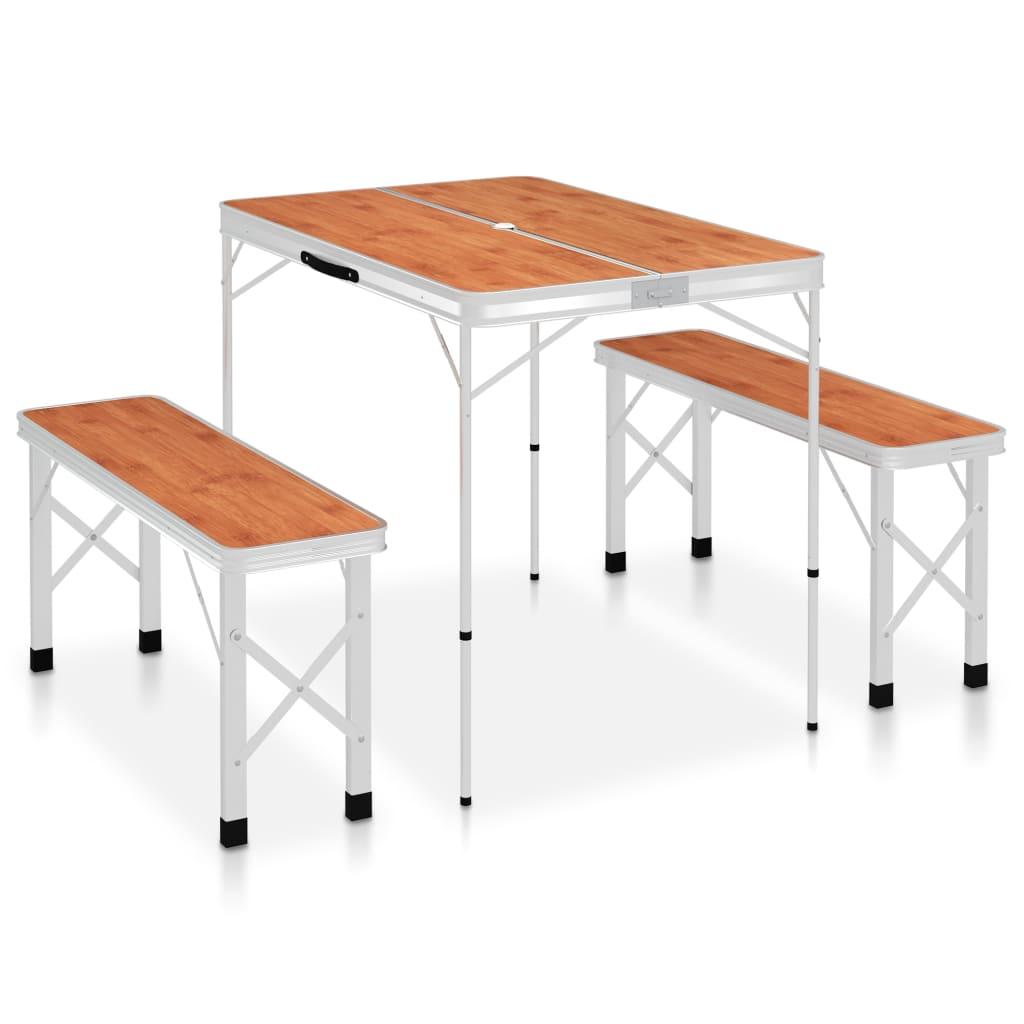 Skládací kempingový stůl se 2 lavicemi hliník hnědý