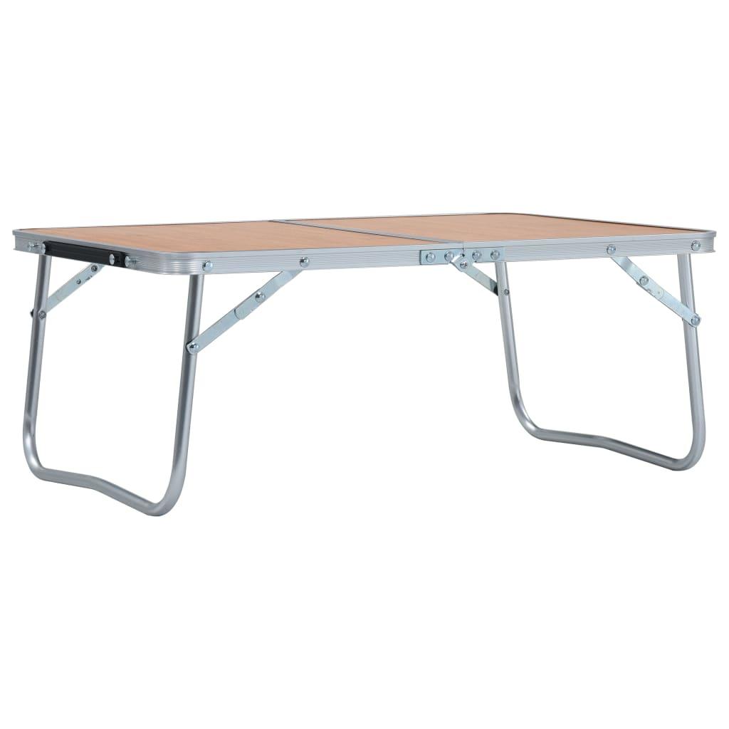 vidaXL Skládací kempingový stůl hnědý hliník 60 x 40 cm
