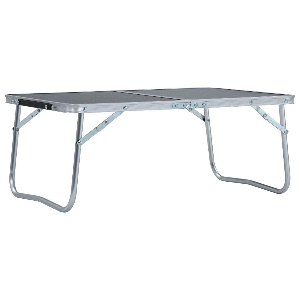 vidaXL Skládací kempingový stůl šedý hliník 60 x 40 cm