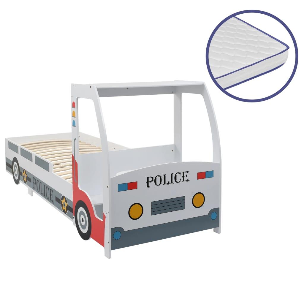 Dětská postel policejní auto+matrace z paměťové pěny 90x200 cm