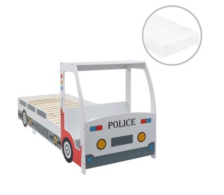 vidaXL Letto Bimbo Auto della Polizia con Materasso Memory 90x200 cm