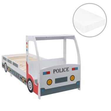 vidaXL Vaikiška lova policijos automobilis, Memory čiužinys, 90x200cm[1/20]