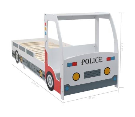 vidaXL Vaikiška lova policijos automobilis, Memory čiužinys, 90x200cm[20/20]