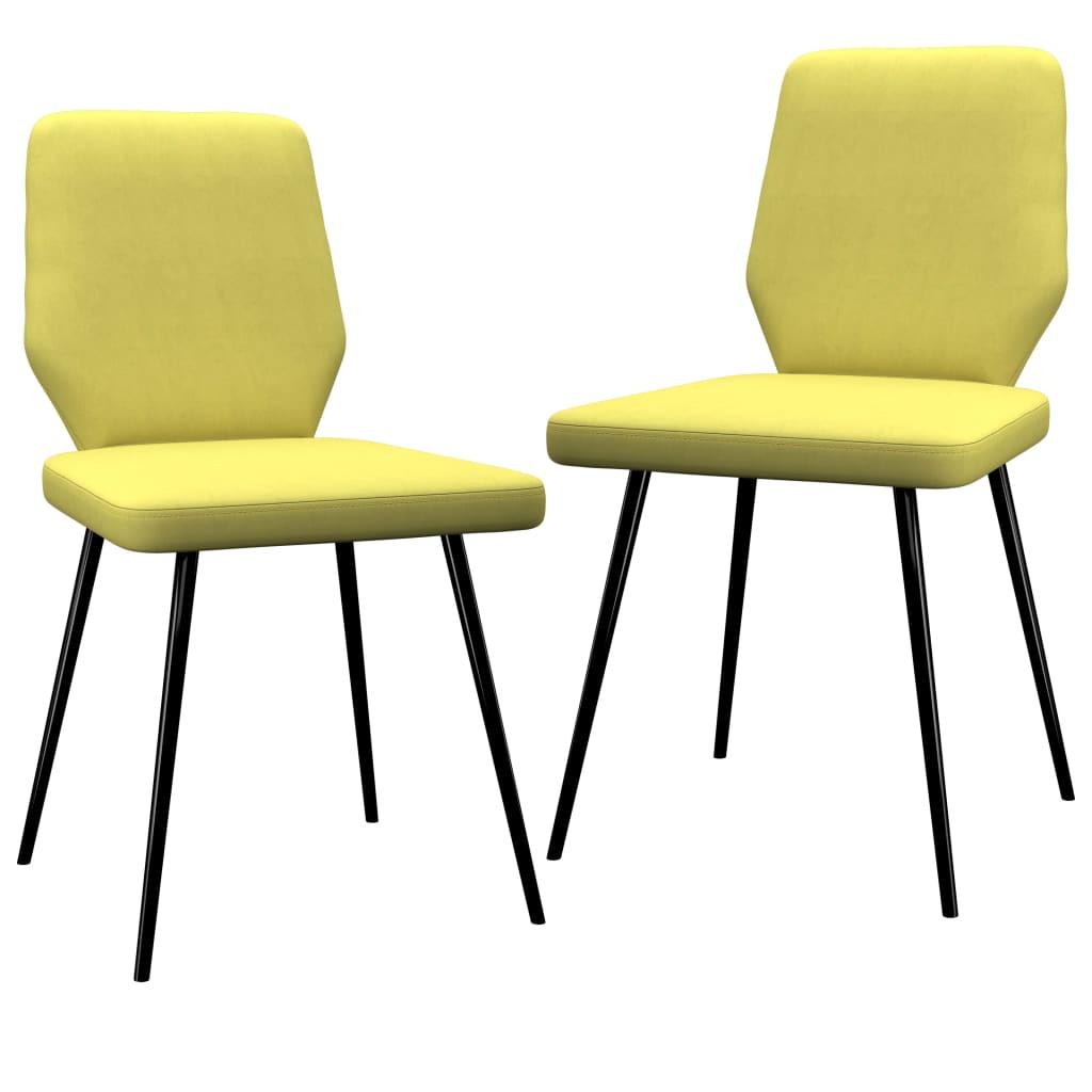 Jídelní židle 2 ks limetkově žluté textil