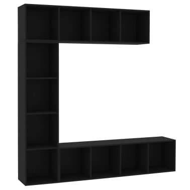 "vidaXL 3 Piece Book/TV Cabinet Set Black 70.9""x11.8""x70.9""[2/6]"