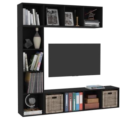 "vidaXL 3 Piece Book/TV Cabinet Set Black 70.9""x11.8""x70.9""[3/6]"