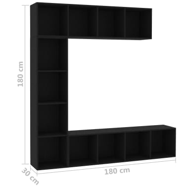 "vidaXL 3 Piece Book/TV Cabinet Set Black 70.9""x11.8""x70.9""[6/6]"