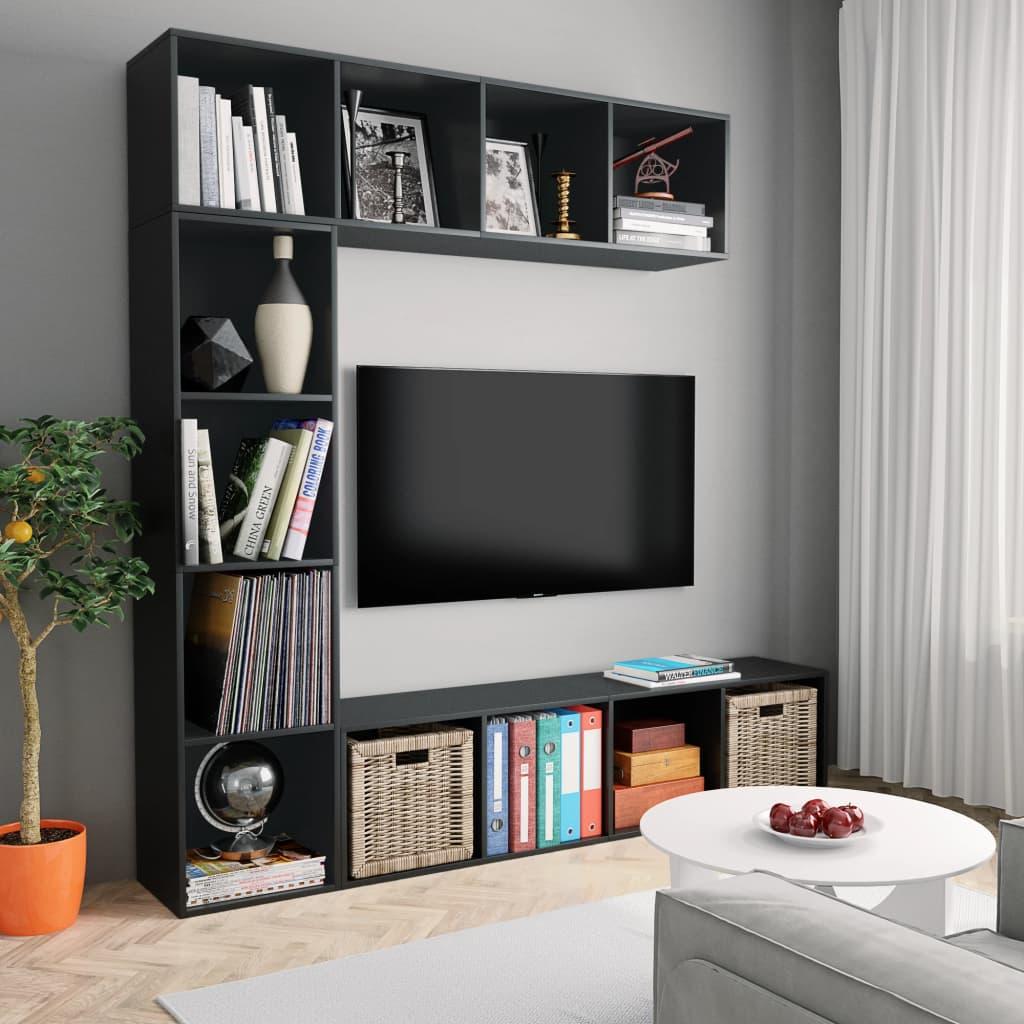 vidaXL Set dulap cărți/TV, 3 piese, negru, 180x30x180 cm poza vidaxl.ro