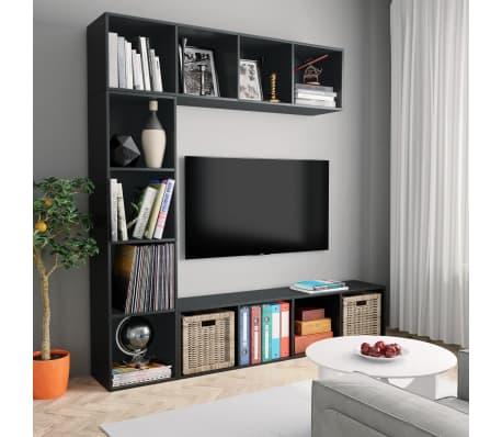 "vidaXL 3 Piece Book/TV Cabinet Set Black 70.9""x11.8""x70.9""[1/6]"