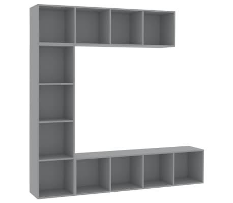 vidaXL Spint. knygoms/televizoriui rink., 3d., pilk. sp., 180x30x180cm[2/6]