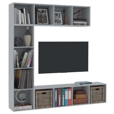 vidaXL Spint. knygoms/televizoriui rink., 3d., pilk. sp., 180x30x180cm[3/6]