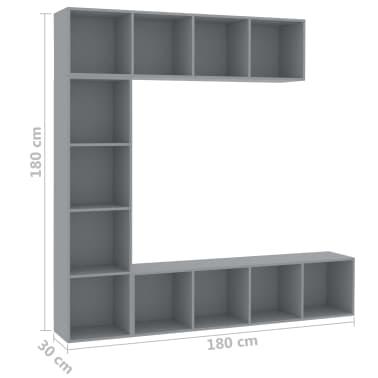 vidaXL Spint. knygoms/televizoriui rink., 3d., pilk. sp., 180x30x180cm[6/6]