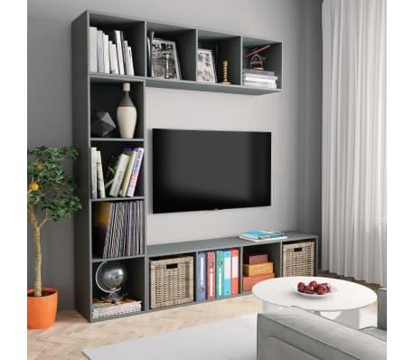 vidaXL Spint. knygoms/televizoriui rink., 3d., pilk. sp., 180x30x180cm[1/6]