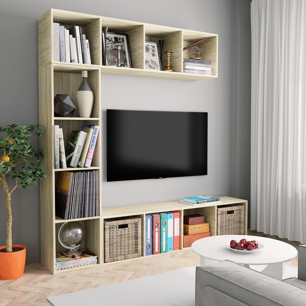 vidaXL Dulap cărți / TV, 3 piese, stejar Sonoma, 180 x 30 x 180 cm poza vidaxl.ro
