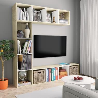 Vidaxl 3 Tlg Bucher Tv Schrank Set Weiss Sonoma Eiche 180 30 180