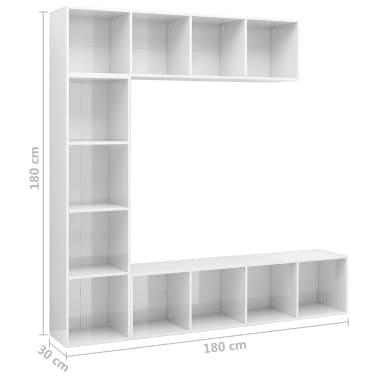 vidaXL Spint. knygoms/televizoriui rink., bal. sp., 3 d., 180x30x180cm[6/6]