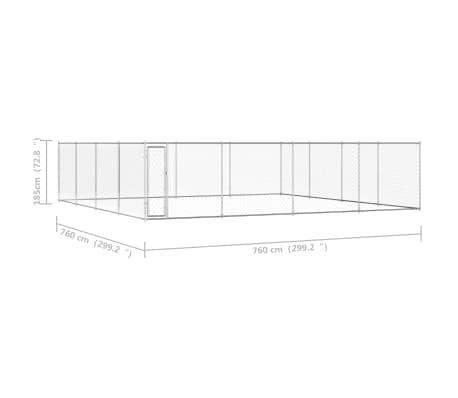 """vidaXL Outdoor Dog Kennel Galvanised Steel 299.2""""x299.2""""x76.8""""[5/5]"""