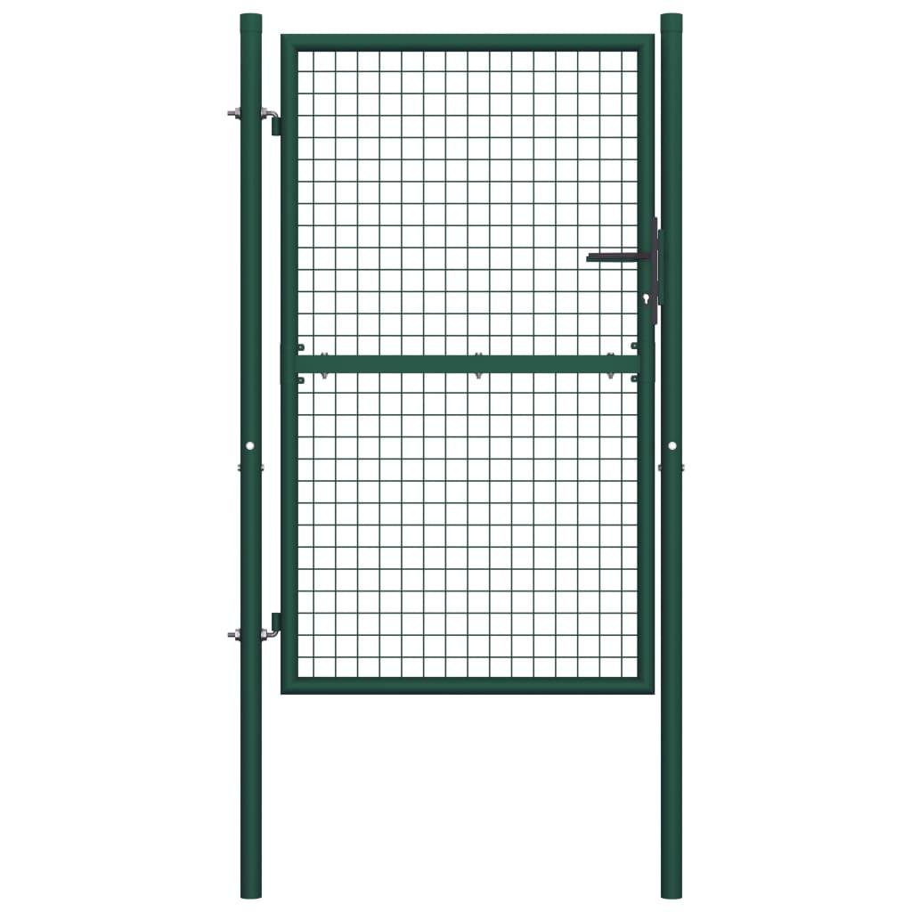 vidaXL Poartă de gard, verde, 100 x 200 cm, oțel vidaxl.ro