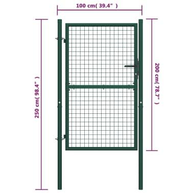 vidaXL Poort 100x200 cm staal groen[5/5]