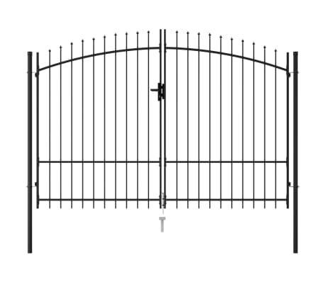 vidaXL Fence Gate Double Door with Spike Top Steel 3x1.75 m Black