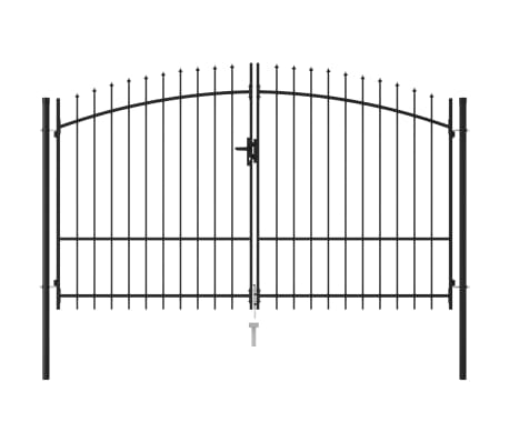 vidaXL Fence Gate Double Door with Spike Top Steel 3x2 m Black