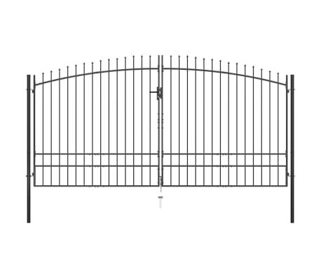 vidaXL Double Door Fence Gate with Spear Top 400x248 cm