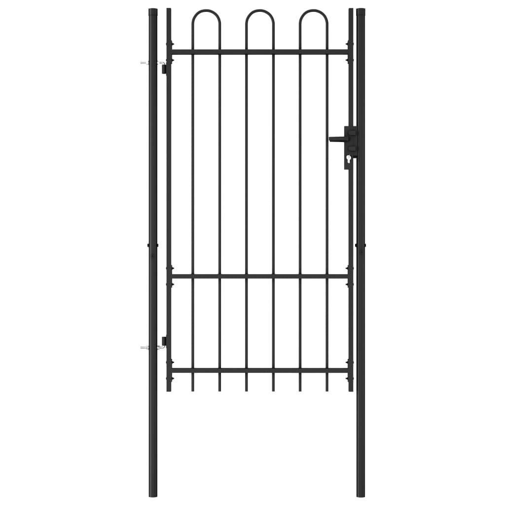 vidaXL Poartă de gard, o ușă, cu vârf arcuit, negru, 1 x 1,75 m, oțel vidaxl.ro