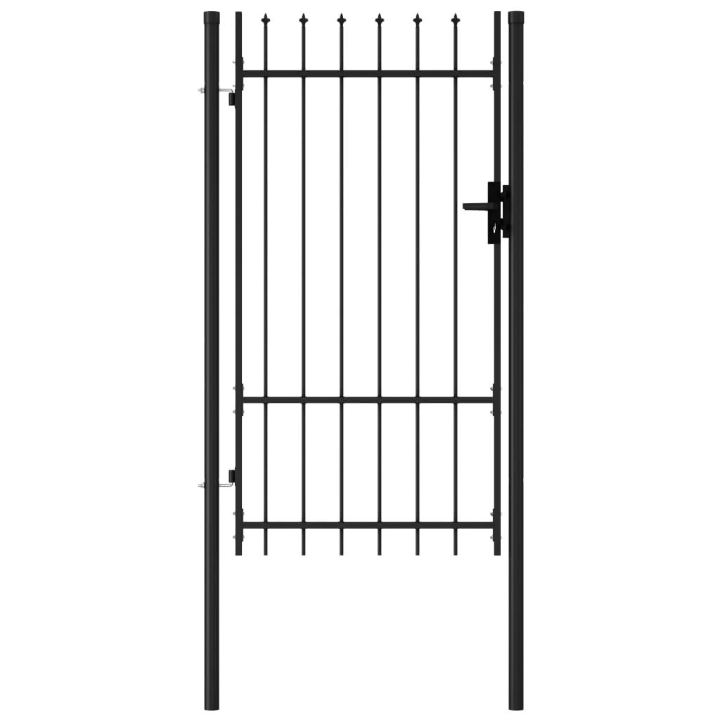 vidaXL Poartă de gard cu o ușă, vârf ascuțit, negru, 1x1,75 m, oțel poza vidaxl.ro