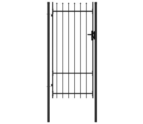 vidaXL Fence Gate Single Door with Spike Top Steel 1x2 m Black