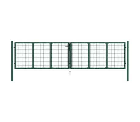 vidaXL Mesh Garden Gate Steel 400x75 cm Green