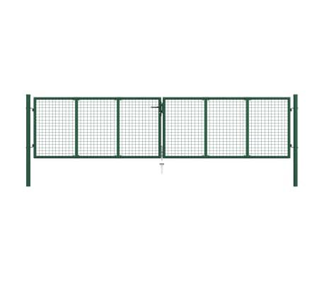 vidaXL Pletivová zahradní brána ocel 400 x 100 cm zelená