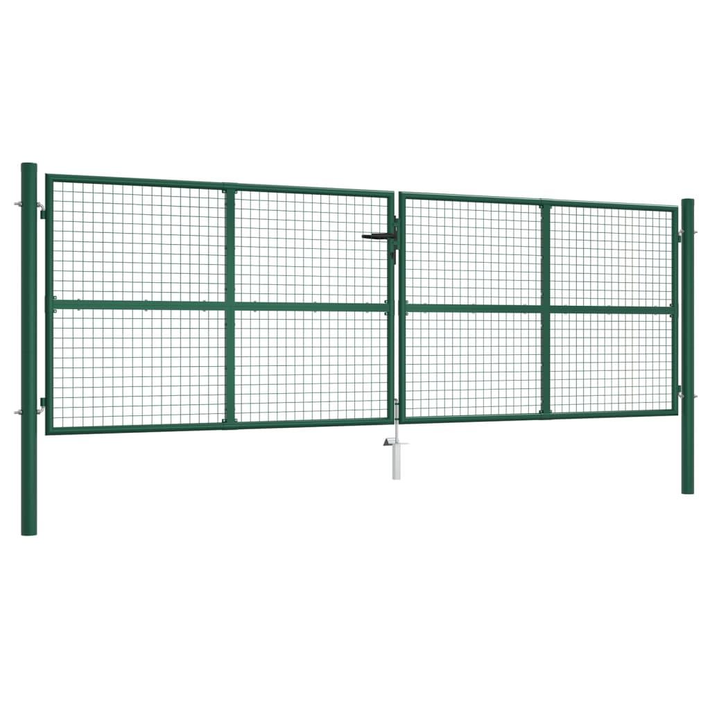 vidaXL Poartă de grădină din plasă, verde, 400 x 125 cm, oțel vidaxl.ro