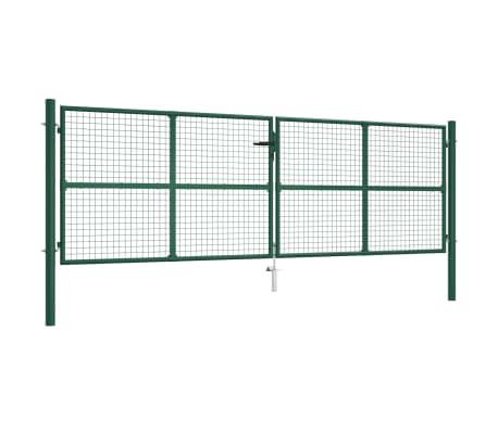 vidaXL Mesh Garden Gate Steel 400x125 cm Green
