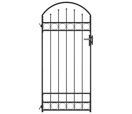 vidaXL Fence Gate with Arched Top Steel 89x200 cm Black